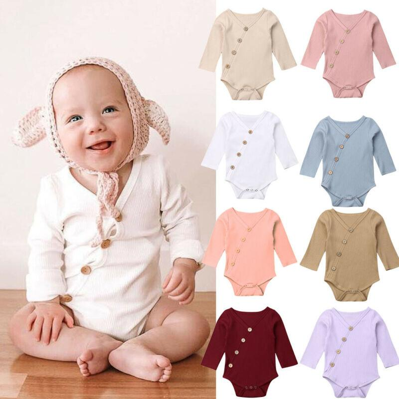 Newborn Baby Girl Boy Long Sleeve Ribbed Romper Bodysuit Jumpsuit Clothes Outfit