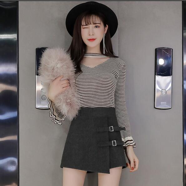meilleure sélection ed20b 24a39 2019 taille haute laine shorts femmes bouton jupe shorts dames plus la  taille asymétrique Mini bottes court femme DV807