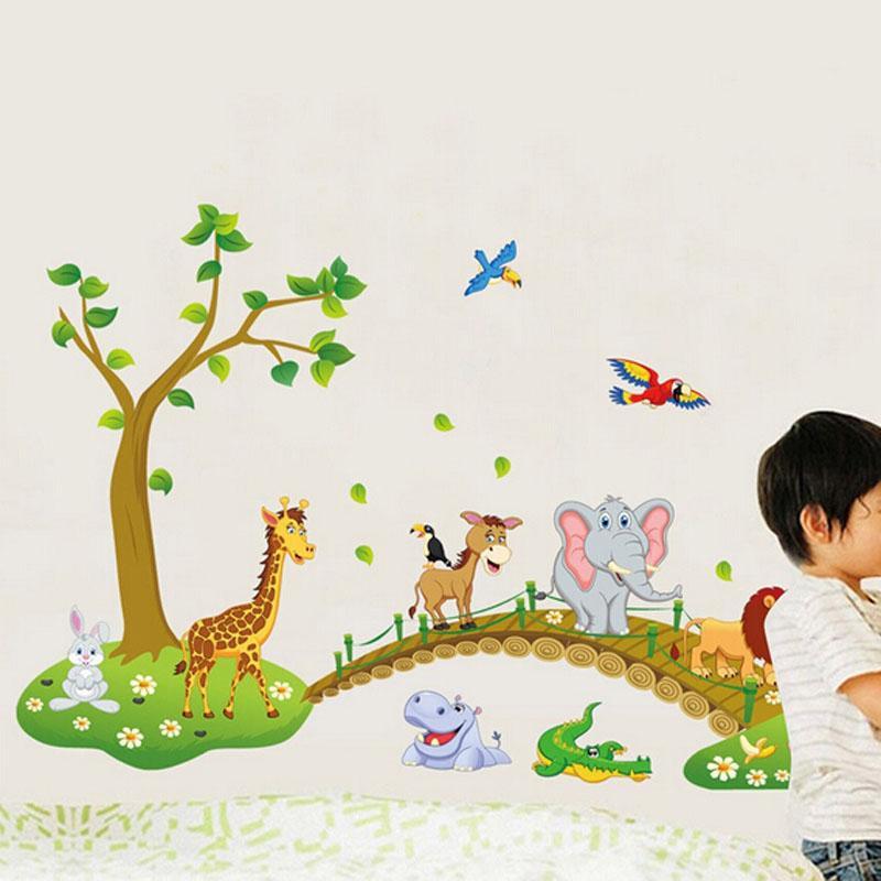 어린이 탈착식 정글 사파리 동물 동물원 벽 스티커 PVC 데칼 가정용 유치원 장식