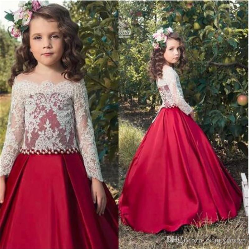Adorabile White Lace Crop Red Satin Flower Girl Dresses Per Wed gonna lunga formale bambini Festa di compleanno Comunione Dress Toddler Pageant Gowns
