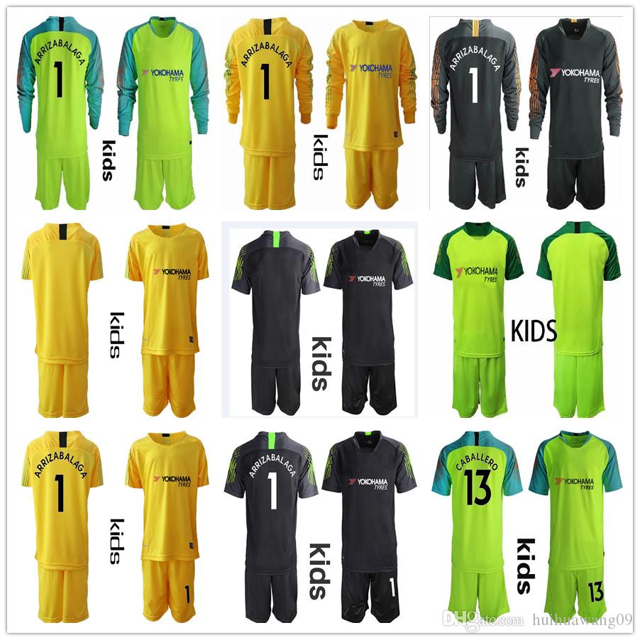 new product aecbe d5fa1 2019 2020 Kids Youth Keeper # 1 Kepa Arrizabalaga Goalkeeper Jersey Youth  The Blues Soccer Sets 13 Caballero Boys Uniforme de fútbol