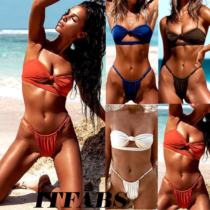 db6417eaf8 2019 Sexy Women Bikini Set Bandage Bow Tie Push Up Padded Swimwear Swimsuit  Bathing Beachwear From Lvyou09