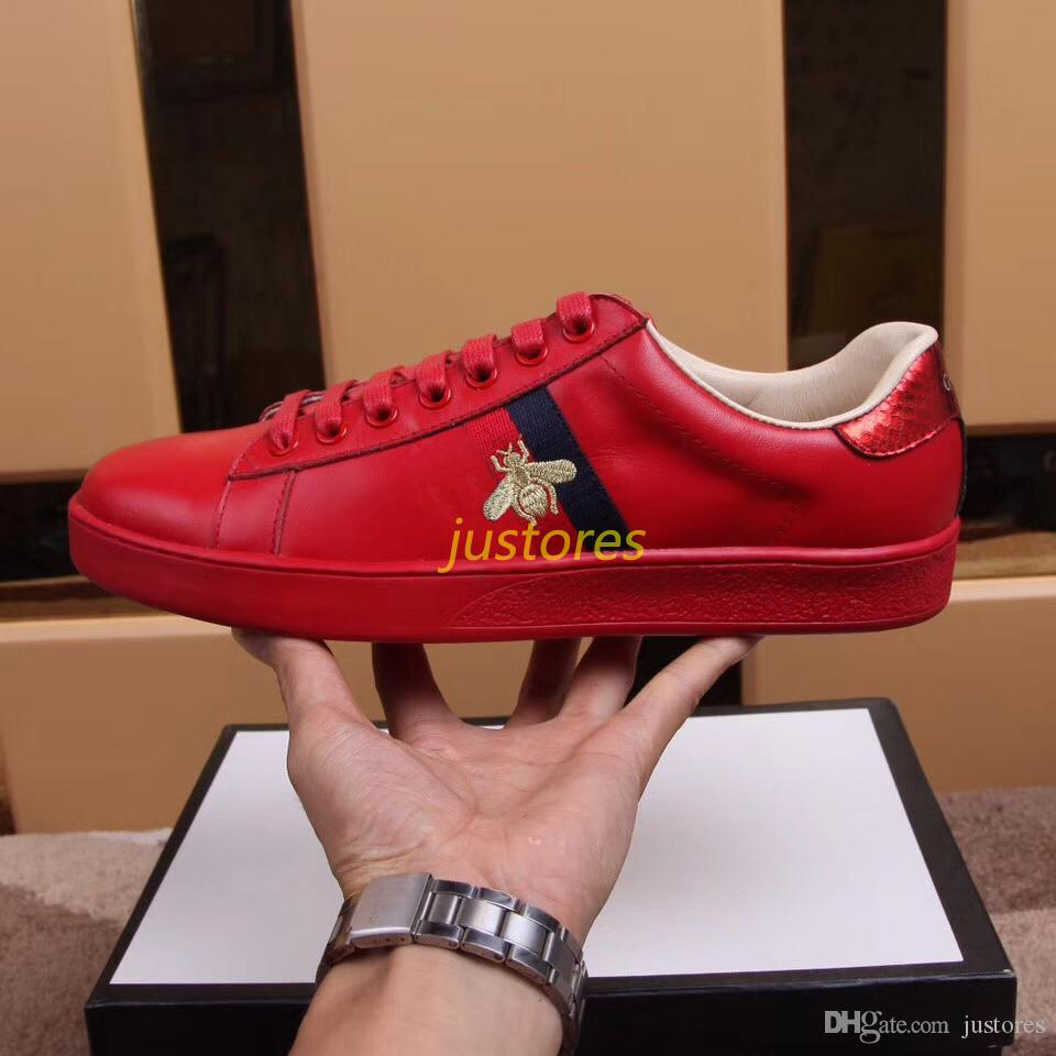Classic Size 35-46 Man Designer Shoe Red Bee Ace Embroidered Low-Top Sneaker Italian Luxury Shoe Woman Casual Shoes