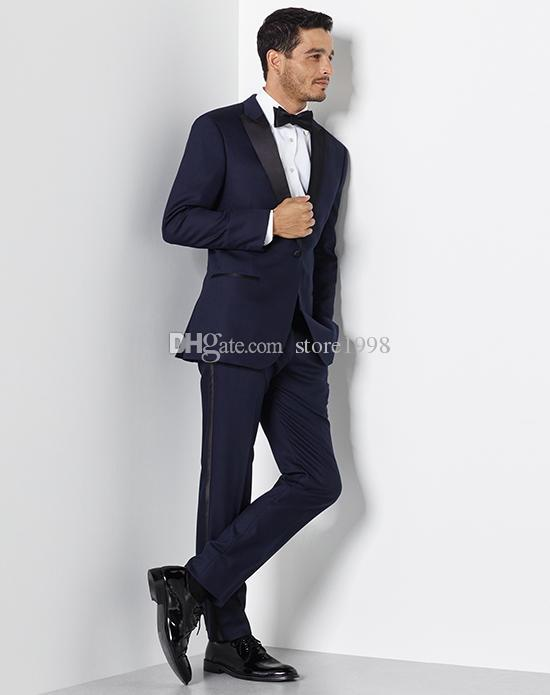 Fashionable Groomsmen Peak Lapel Groom Tuxedos Navy Blue Men Suits Wedding/Prom Best Man Blazer ( Jacket+Pants+Tie ) A576