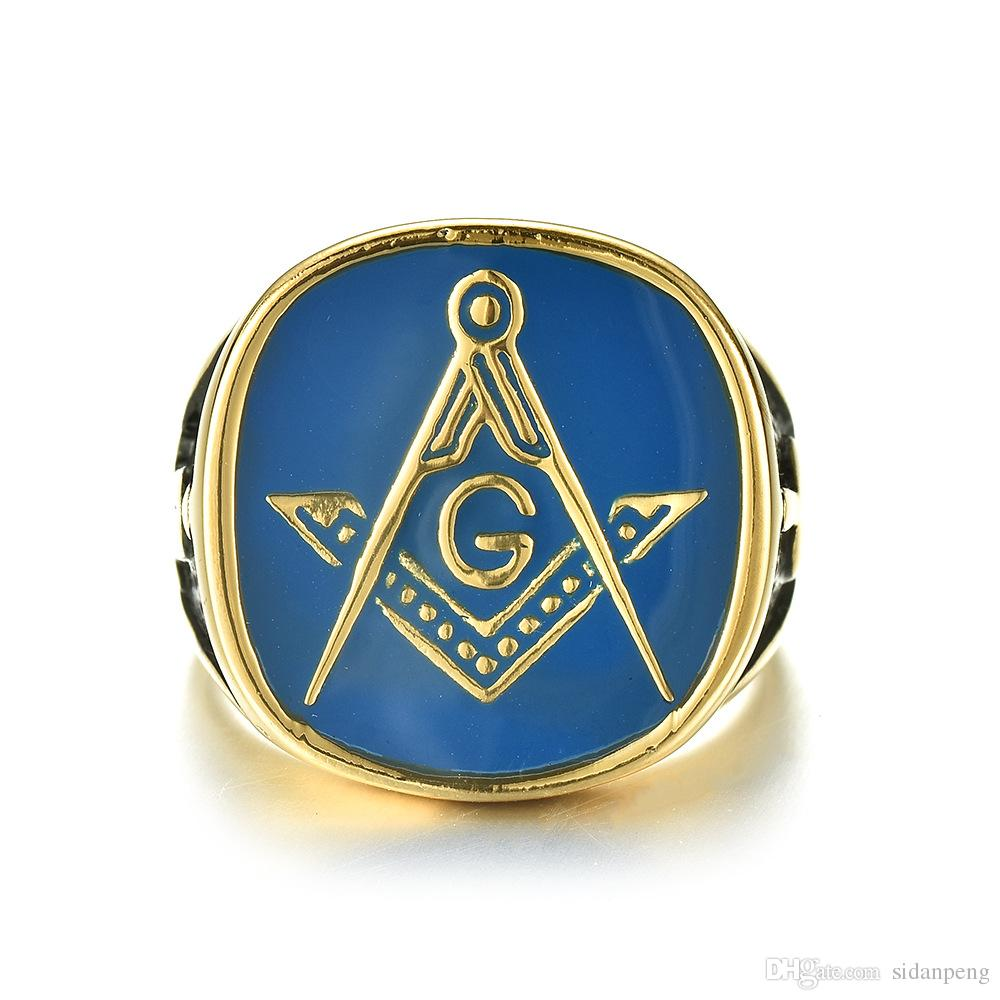 2019 Punk Vintage R Blue Gold Black Color Masonic Side Ring for Men Jewelry Men Freemason Symbol G Templar Freemasonry Rings