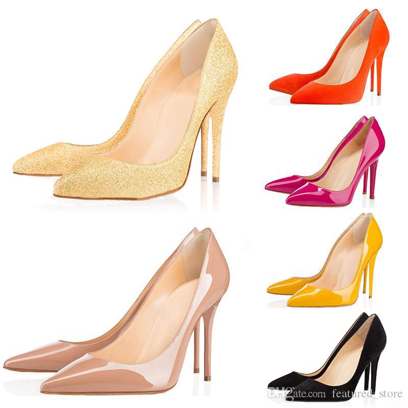 7c0cc4e6 Compre Nuevo Diseñador De Lujo Zapatos De Mujer Fondos Rojos Con Caja De Bombas  Tacones Altos Negro Desnudo En Punta Vestido Zapatos De Boda 8/10 / 12CM 35  ...