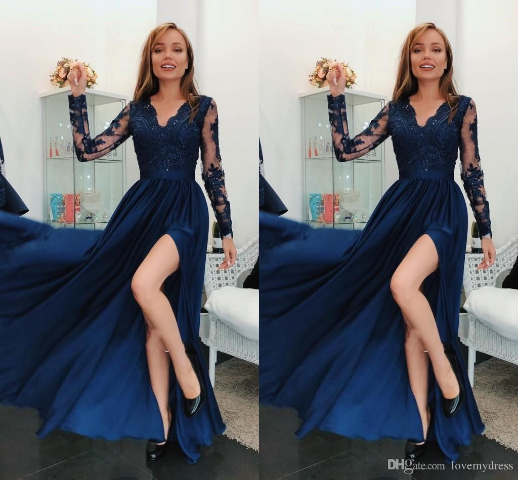 2aac64ee150b Navy Blue Nigerian Lace Prom Dresses With Slit Illusion Long Sleeves Sequin  Beaded Ruched Evening Gowns Party Formal Dresses Special Women Cheap Prom  Dress ...