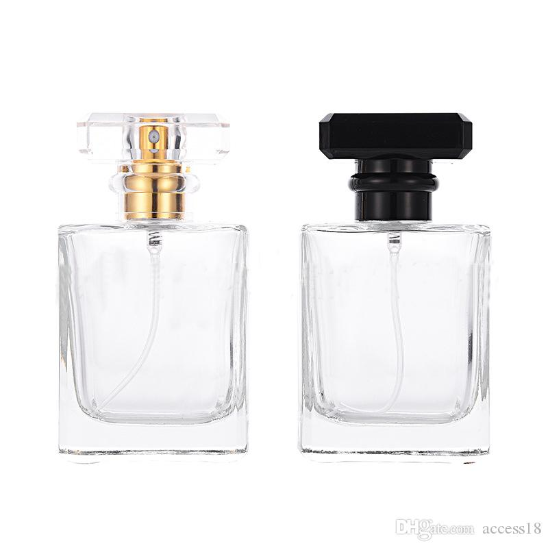 Most Popular Empty Square Clear Glass Perfume Bottles 50ml Crystal Empty Spray Perfume Bottles With Black Transparent Pump Sprayer Cap