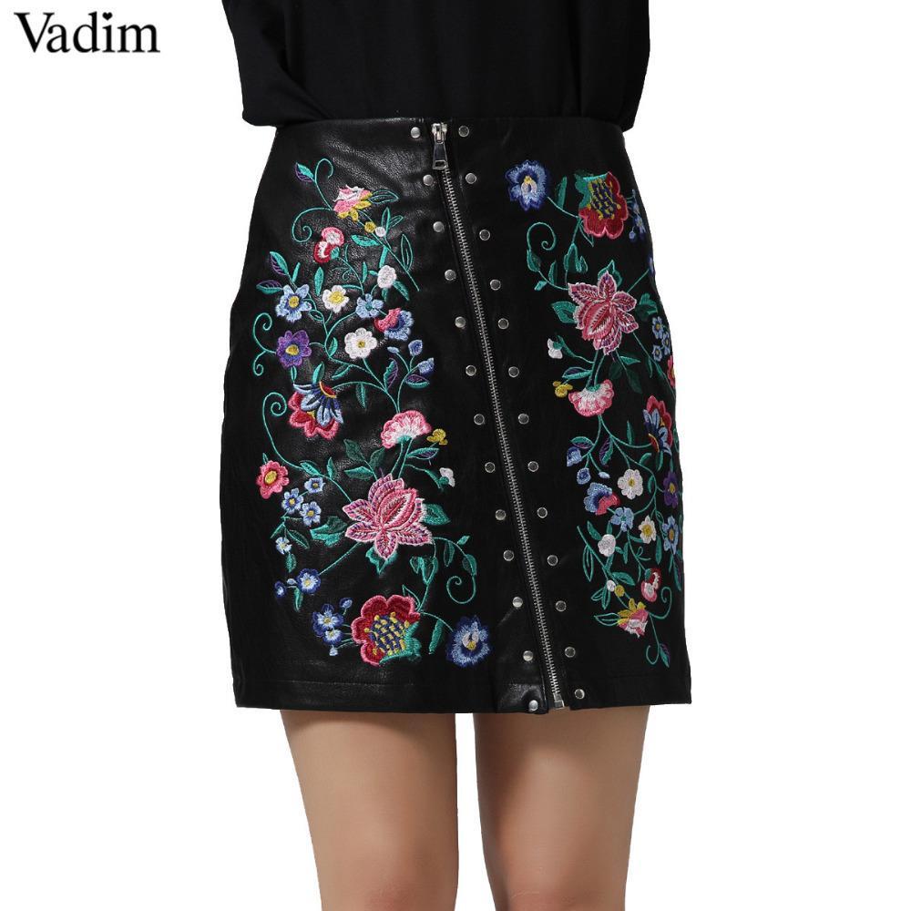 6e645ba742 Compre Vadim Mujeres Elegante Bordado Floral Remache Pu Faldas De Cuero De  Las Señoras De Verano Streetwear Moda Negro Mini Falda Bsq597 C19041601 A   22.32 ...