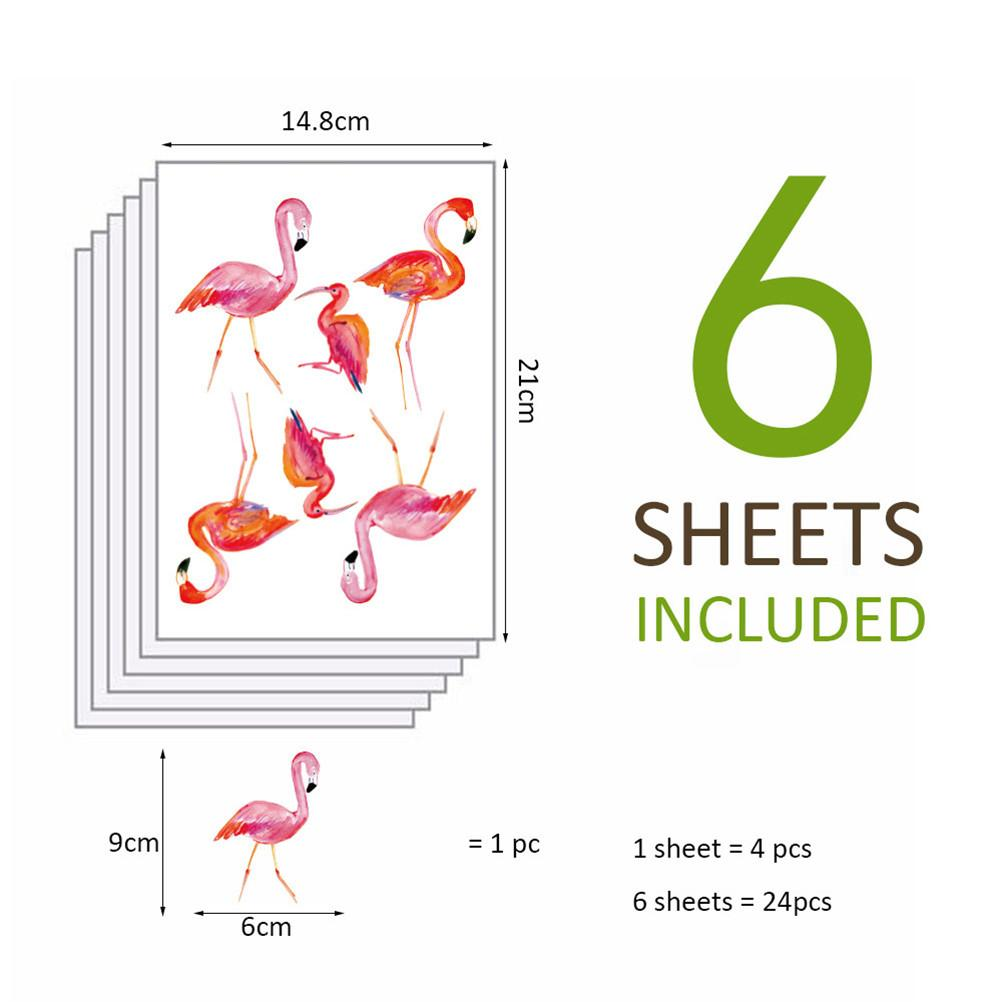 6sheet=24pcs DIY Art Vinyl Design Home Decor Mini Bird Flamingo Wall Stickers For Kids Rooms