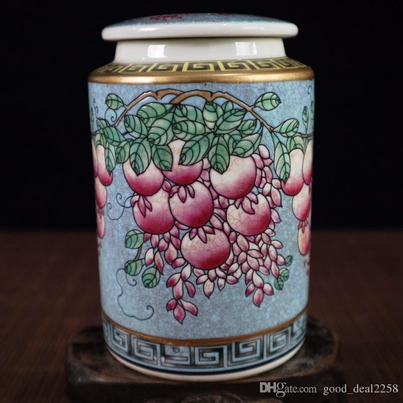 Satın Al çin Porselen Kavanoz Elişi Boyama Yaldızlı Mavi üzüm