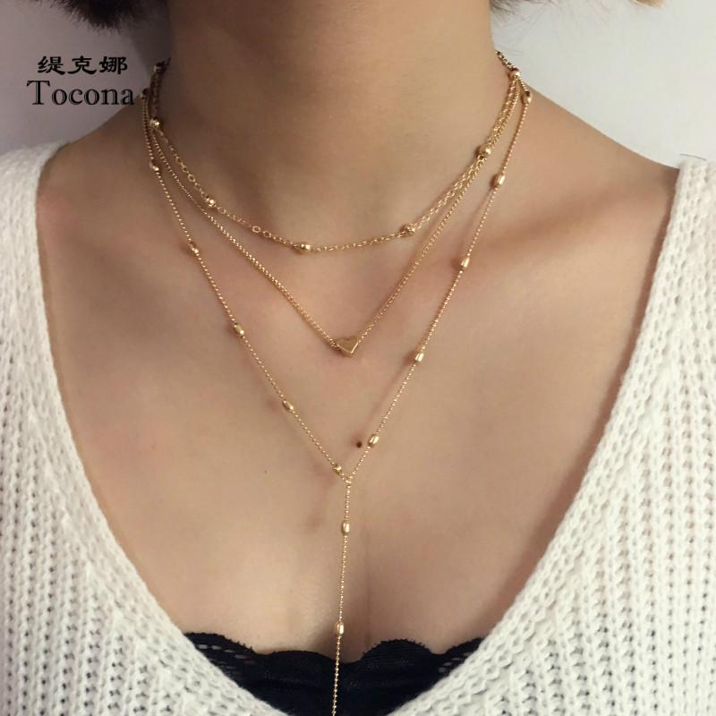 Tocona New Fashion Roamtic Heart Shape Design Gold Silver Color Necklace Elegant Chain Chokers Necklace Jewelry For Women 4255