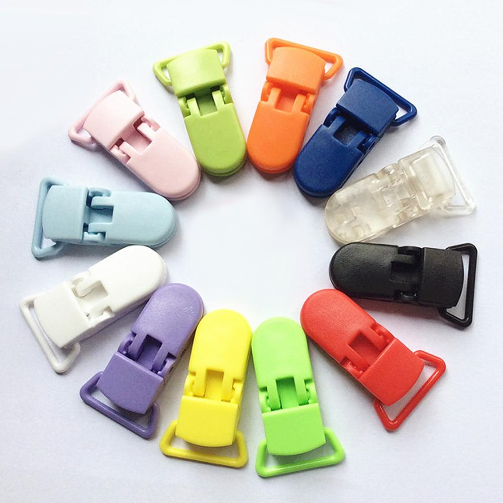 Plastic Baby Pacifier Clips Transparent Pacifier Clips Soother Holder for Baby Pacifier Nipples Holder Multicolor 20mm
