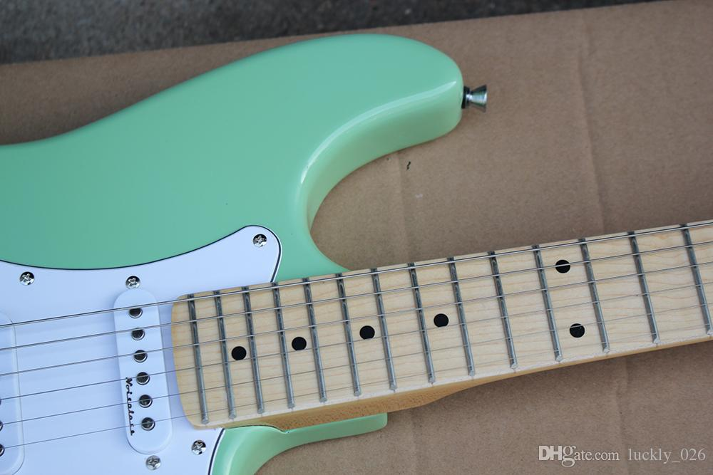 Factory Custom Green Body Electric Guitar with SSS Pickups,White Pickguard,Chrome Hardwares,Maple Fingerboard,Offer Customized