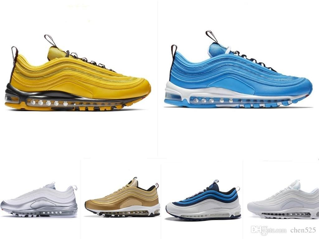 New 97 Designer Shoes Bright Citron Blue Hero Metallic Gold South Beach  Silver Bullet Running Shoes 97s Men Women Sneakers Size 36-45 97s Running  Shoes ... 33f047ea8
