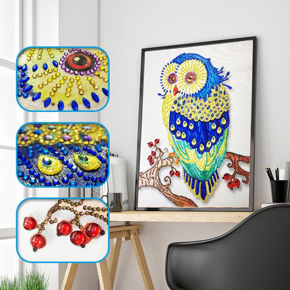 Özel Şekilli Elmas Boyama Kelebek tavuskuşu baykuş çiçek DIY 5D Kısmi Matkap Çapraz Dikiş Kitleri Kristal Rhinestone Sanat ...