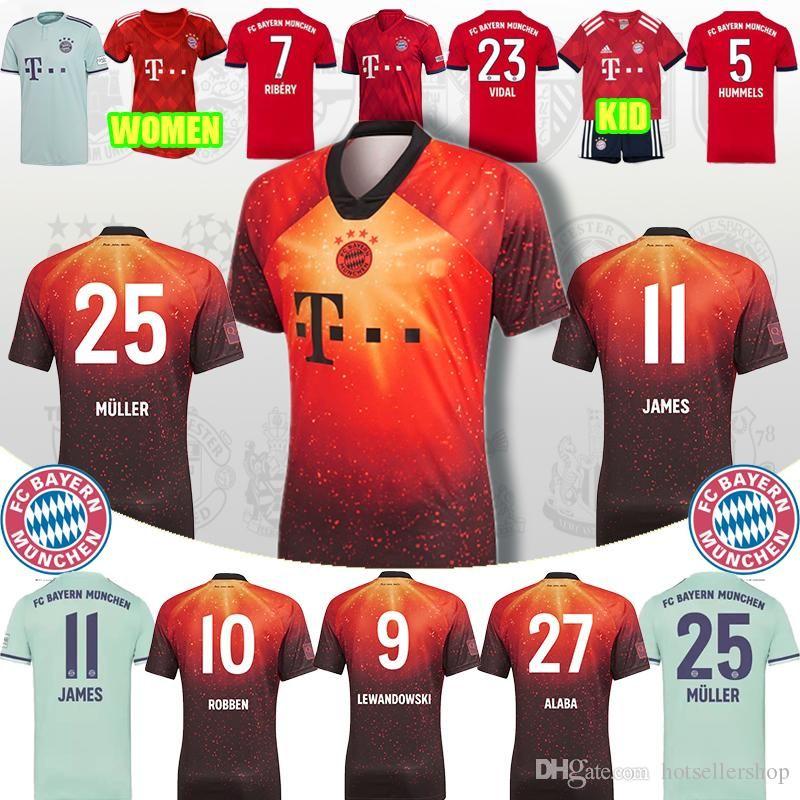 competitive price d6ad9 4b4bf bayern Munich soccer jersey JAMES RODRIGUEZ LEWANDOWSKI MULLER KIMMICH  jersey 27 ALABA 23 VIDAL 1 NEUER foot Champions league
