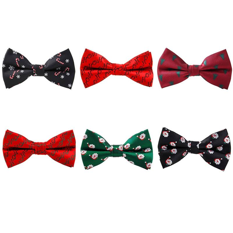 bb57f504e7bf Christmas Bow Tie Men's Fashion Black Bowtie Red For Festival Green Tree Santa  Claus Snowflake Bow Ties For Accessories