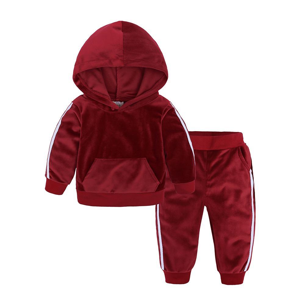 Pudcoco 1-5 Anos Criança Bebé Menina roupa de Inverno Set veludo com capuz Tops Calças Roupas quentes