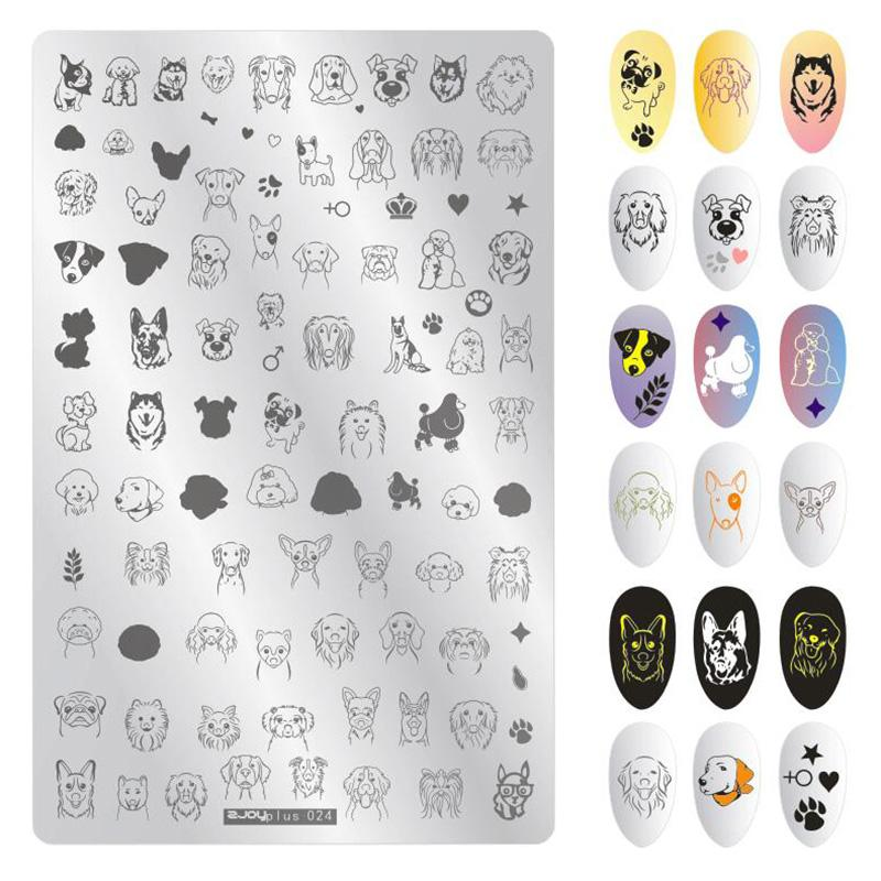 1Pcs 9.5*14.5cm Cartoon Anima Pattern Nail Art Stamping Plate Dog tiger Lion Image Template Stamp Manicure Nail Stencils