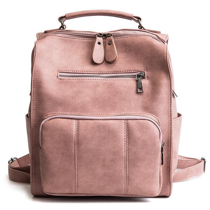 Alandtus Brand Leather Backpack Female Teenage Girls School ... f064756213fd9