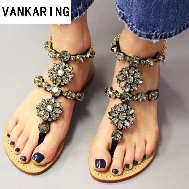 quality design 35cdb 21057 nuove scarpe estive donna sandali donna strass catene sandali piatti  infradito infradito cristallo infradito da ragazza data gladiatore