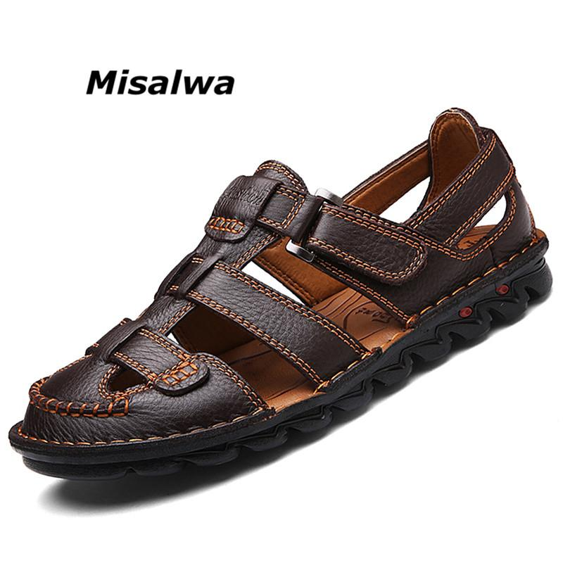 3d5659da964b3 Misalwa Genuine Leather Sandals Men Casual Closed Toe Summer Shoe  Breathable Fisherman Style Casual Beach Shoe Business Footwear Men Sandals  Heeled Sandals ...