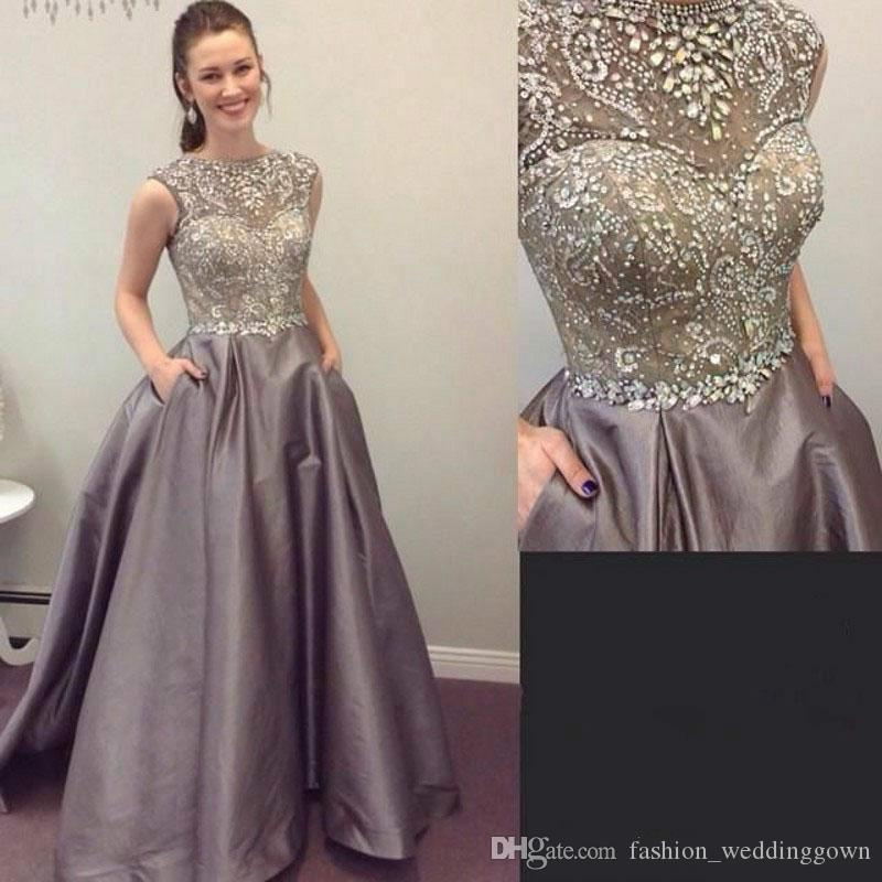 Sparkling Beading Handwork Satin Silver Gray Prom Dresses 2019 Sleeveless Long Diamond Sequined Formal Evening Gowns Vestidos Formatura