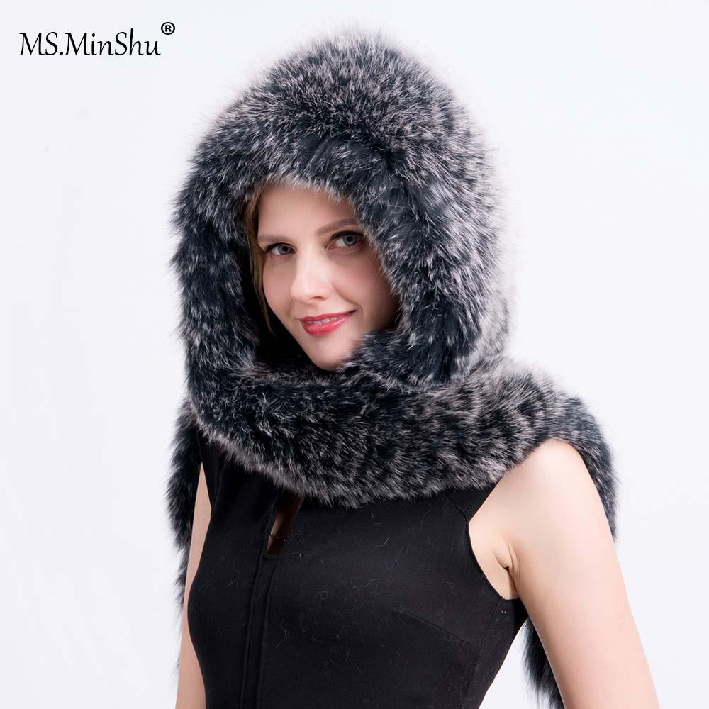 51f0825753735 MS.MinShu Drop Shipping Genuine Fox Fur Cap With Scarf Hand Knitted Real  Fox Fur Shawl Hat Fashion Winter Hat Fluffy Cap Cashmere Scarves Ladies  Belts From ...
