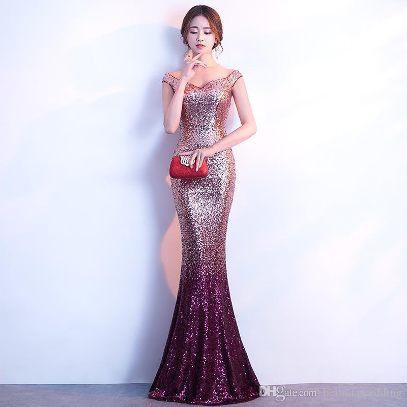 78f453f53d26b Evening Dress Long Sparkle 2019 Dresses Evening Wear New V-Neck Women  Elegant Sequin Mermaid Maxi Gold Evening Party Gown Dress