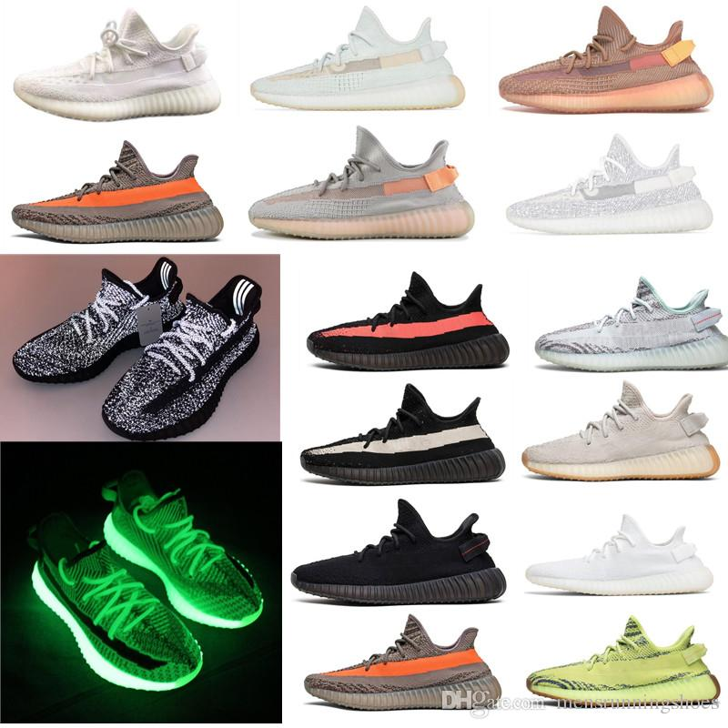 half off f6e0e 71ade 2019 GID 2019 Glow In The Dark Clay True Form Hyperspace Static 35 V2 Men  Running Shoes Kanye West Green Luxury Designer Mens Sneakers From  Mensrunningshoes ...