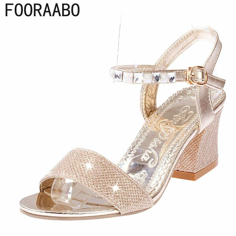 422633c299f Designer Sandals Women Sexy Pumps Summer Ladies High Heels Ankle Strap  Sandals Fashion Bling Square Heel Shoes Gold And Silver Suede Shoes Pumps  Shoes From ...
