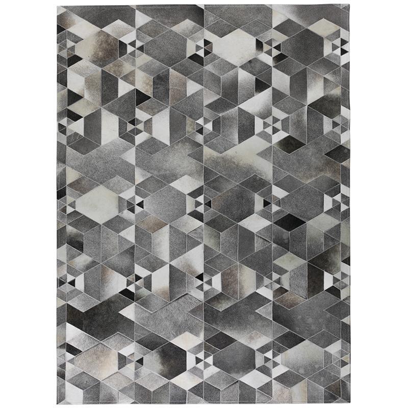 Cuir de vachette gris de style industriel haut de gamme piquant à la main  véritable tapis de fourrure salon chambre section luxe tapis moderne