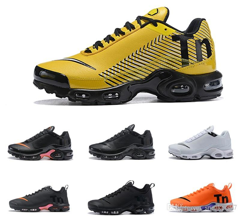 new styles ba804 14175 Acheter 2019 Nike Air Max Airmax AIRMAX Plus TN Running Air Mercurial Plus  Tn Ultra SE Noir Blanc Orange Marron Chaussures De Plein Air D extérieur TN  ...