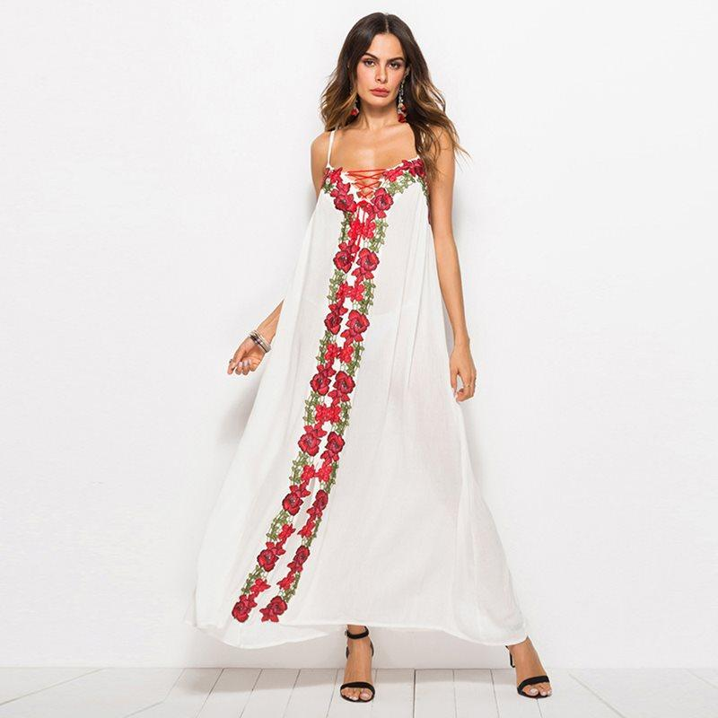 742e67b555c White Maxi Dress Women Flower Embroidery Fashion Lace Up Summer New Boho  Sundress Travel Casual Loose Deep V Sexy Beach Dresses Sundress On Sale  Dresses For ...