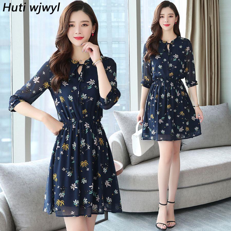 8f44e680612b9 Summer Korean Floral Chiffon Boho Sexy Sundress 2019 Vintage Plus Size  Beach Mini Dresses Women Bodycon Party Elegant Vestidos