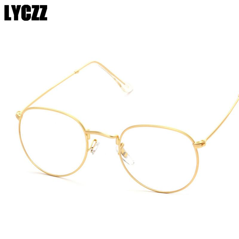 e44ff44096 2019 LYCZZ Brand Design Woman Glasses Optical Frames Metal Round Glasses  Frame Clear Lens Black Silver Gold Eyeglasses Frame Eyewear From  Marquesechriss