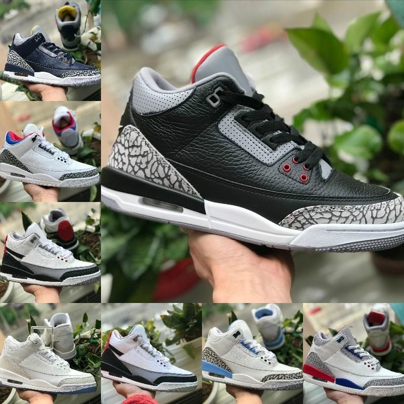 With Box 2019 New 3s Pure White Mens Basketball Shoes Cheap Tinker Katrina JTH Free Throw Linell Chicago OG Royal Blue Black 3 Cement Shoes