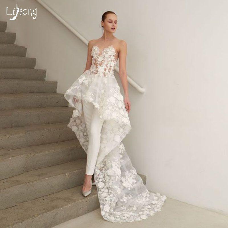 huge selection of 3caea 12be3 Splendido abito da sposa bianco con applicazioni floreali a basso costo con  trenino Illusion Wedding Maxi Gown Abito da sposa per eventi ...