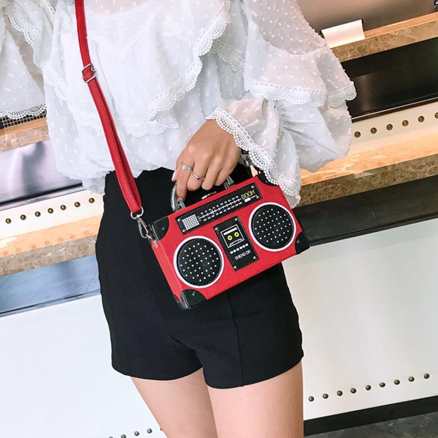 d77cf31239946 Fashion Ladies HandBag Personality Sequin Radio Style Crossbody Bags For Women  Pu Leather Harajuku Shoulder Messenger Bag Mini Red Clutch Fashion Handbags  ...