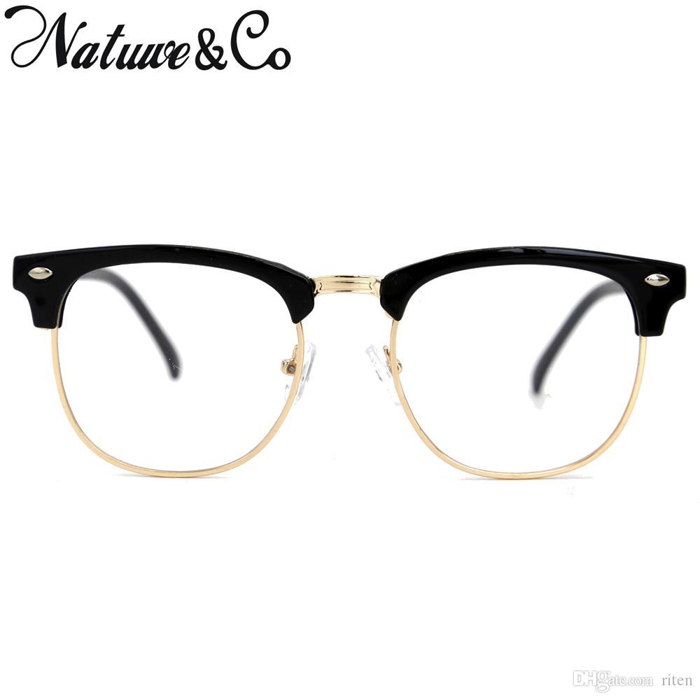 2634ed441e 2019 Natuwe Co 2018 Retro Half Frame Eyeglasses Semi Rimless Vintage Design Clear  Lens Glasses From Riten
