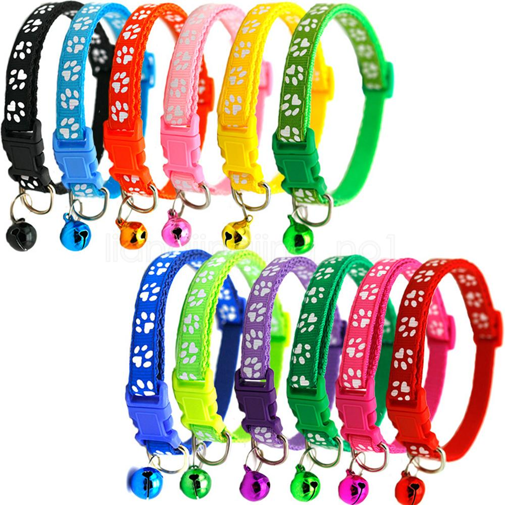 12styles Dog Puppy Cat Collar Breakaway Adjustable Cats Collars with Bell Bling Paw Charms pet decor supplies CYF-2926