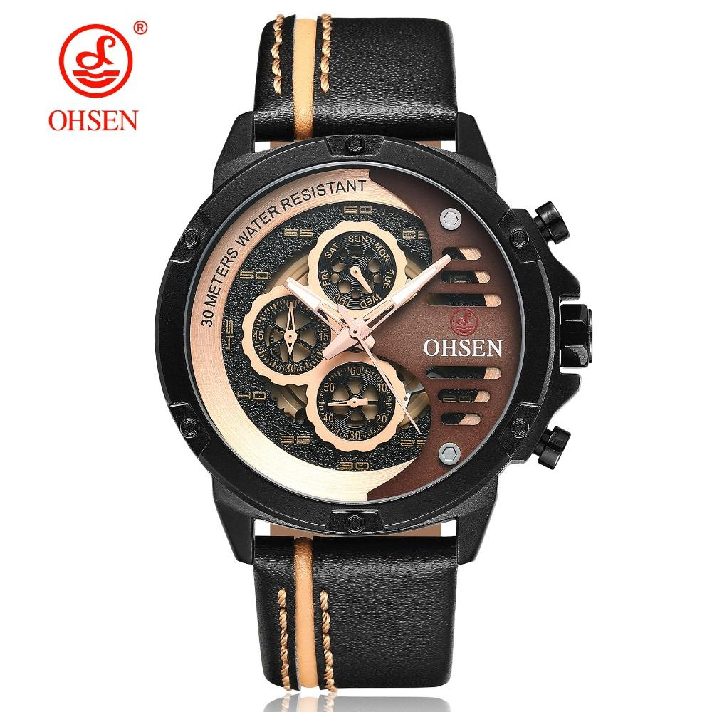 ab295558921 2019 OHSEN New Fashion Gold Quartz Men Wristwatch Relogio Masculino Leather  Strap Weekend Waterproof Military Casual Male Watch Online with   23.96 Piece on ...
