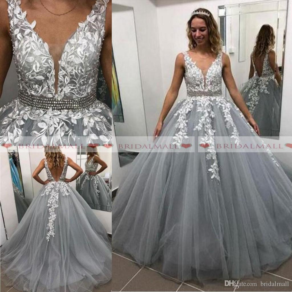 3d4da359b 2019 White Appliques V Neck Long Prom Dresses Sexy Backless Formal Party  Gowns Grey Tulle Evening Dress Celebrity Pageant Vestidos De Novia Prom  Dresse Prom ...