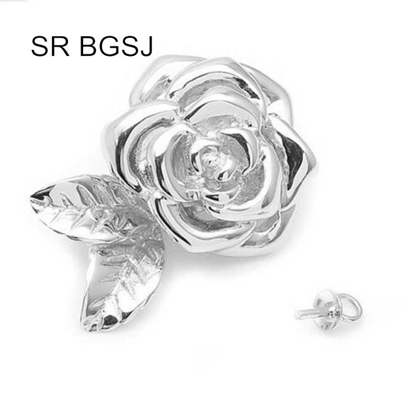 Free Shipping Jewelry Making DIY Rose Flower 925 Silver Magnetic Stud Drop Hook Necklace Clasp