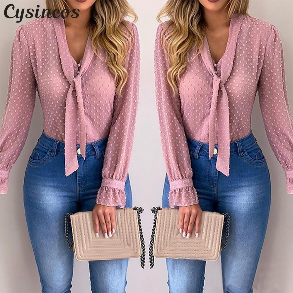 Cysincos Women Blouses 2019 Fashion Long Sleeve V-neck Pink Shirt Chiffon Office Blouse Slim Casual Tops Plus Size S-5XL