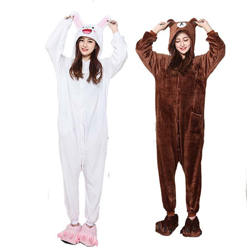 d382115b5e 2019 Soft Couple Kigurumi Brown Bear Onesie For Adult Animal Cony Bunny  Costume Cartoon Pajamas Funny Cosplay Party Halloween Suit From Home5