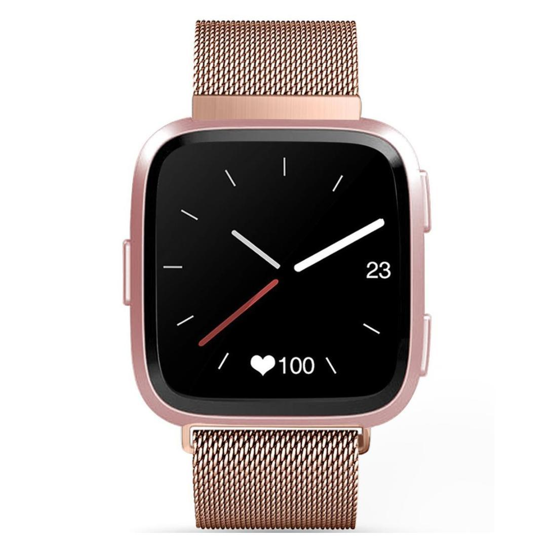 Milano Stainless Steel Ring.Milan Magnetic Ring Stainless Steel Strap For Fitbit Versa 16mm