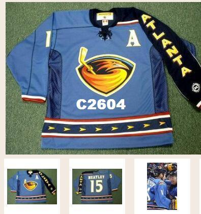 bbe439fea 2019 Real Men Real Full Embroidery  15 DANY HEATLEY Atlanta Thrashers 2003  Hockey Jersey Or Custom Any Name Or Number Jersey From C2604