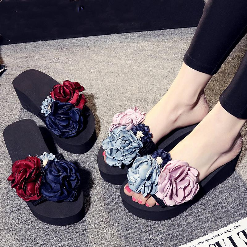 4784ae2408d7 Hand Made Beautiful Flowers New Women Slippers With Elastic Belt Flip Flops  Sandals Slippers Casual Wear Beach Shoes Wedges Shoes Leather Boots From ...